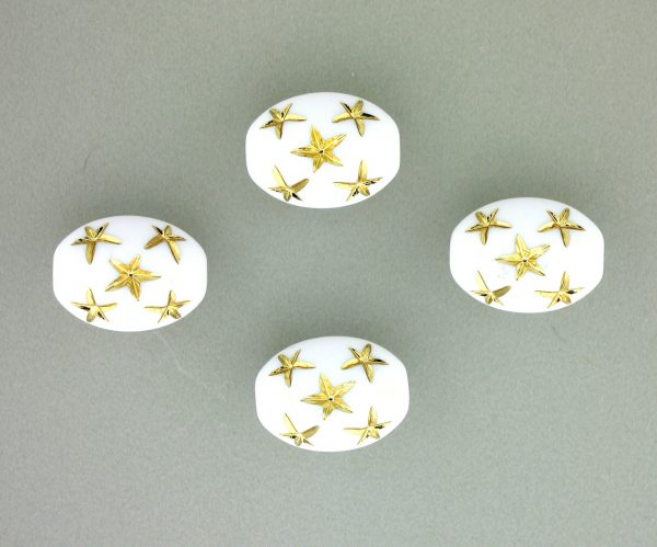 9021 - 13x10mm Gold Star Beads (Oval) - White