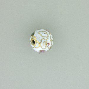 6008C - 8mm Round Cloisonne Bead -  White