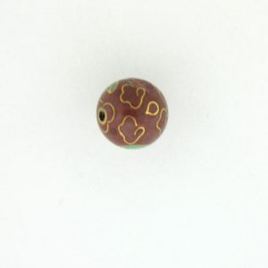 6014C - 14mm Round Cloisonne Bead - Brown