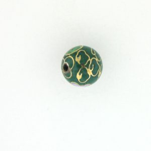 6014C - 14mm Round Cloisonne Bead - Green