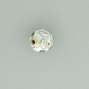 6014C - 14mm Round Cloisonne Bead - White