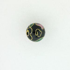 6018C - 18mm Round Cloisonne Bead - Black