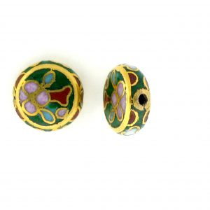 6710C - 10mm Flat Round Cloisonne Bead - Green