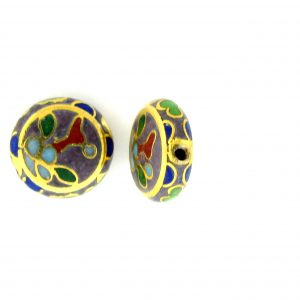6710C - 10mm Flat Round Cloisonne Bead - Purple