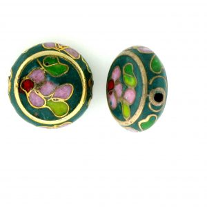 6712C - 12mm Flat Round Cloisonne Bead - Green