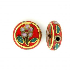 6712C - 12mm Flat Round Cloisonne Bead - Red