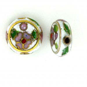 6712C - 12mm Flat Round Cloisonne Bead - White