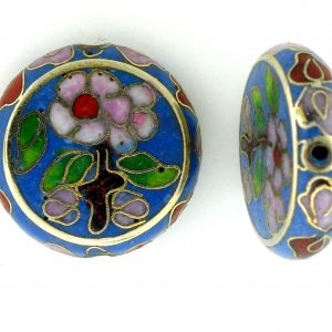 6718C - 18mm Flat Round Cloisonne Bead - Light Blue
