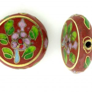 6718C - 18mm Flat Round Cloisonne Bead - Brown