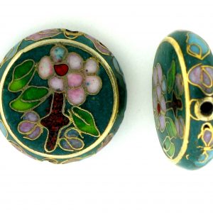 6718C - 18mm Flat Round Cloisonne Bead - Green