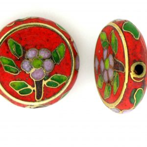 6718C - 18mm Flat Round Cloisonne Bead - Red