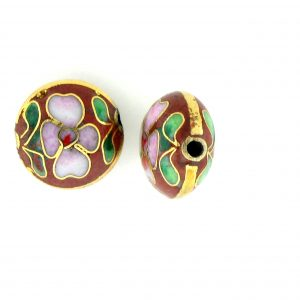 6812C - 12mm Flat Round Cloisonne Bead - Brown