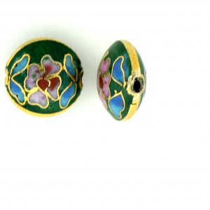 6812C - 12mm Flat Round Cloisonne Bead - Green