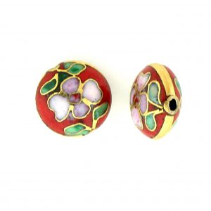 6812C - 12mm Flat Round Cloisonne Bead - Red