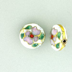 6812C - 12mm Flat Round Cloisonne Bead - White