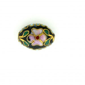 7012C - 12mm Flat Oval Cloisonne Bead - Black