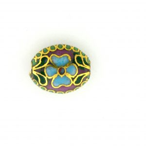 7012C - 12mm Flat Oval Cloisonne Bead - Purple