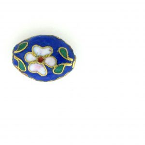 7012C - 12mm Flat Oval Cloisonne Bead - Blue