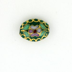 7012C - 12mm Flat Oval Cloisonne Bead - Green