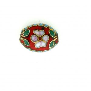7012C - 12mm Flat Oval Cloisonne Bead - Red