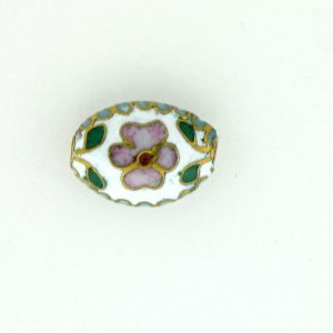 7012C - 12mm Flat Oval Cloisonne Bead - White