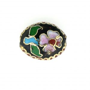 7015C - 15mm Flat Oval Cloisonne Bead - Black