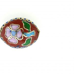 7015C - 15mm Flat Oval Cloisonne Bead - Brown