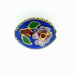 7015C - 15mm Flat Oval Cloisonne Bead - Blue