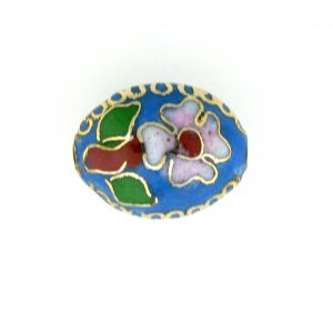 7015C - 15mm Flat Oval Cloisonne Bead - Light Blue