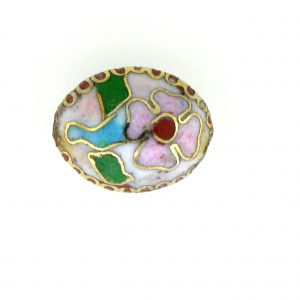 7015C - 15mm Flat Oval Cloisonne Bead - White