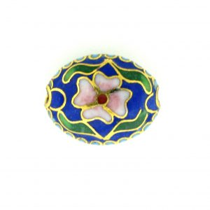7016C - 16mm Flat Oval Cloisonne Bead - Blue