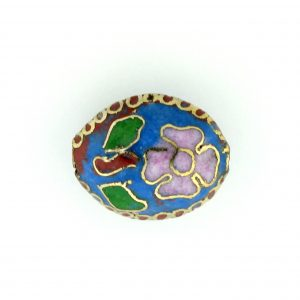 7016C - 16mm Flat Oval Cloisonne Bead - Light Blue