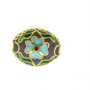 7016C - 16mm Flat Oval Cloisonne Bead - Purple