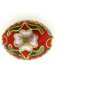 7016C - 16mm Flat Oval Cloisonne Bead - Red
