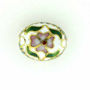 7016C - 16mm Flat Oval Cloisonne Bead - White