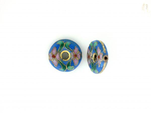7116C - 16mm Flat Round Cloisonne Bead - Light Blue