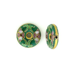 7116C - 16mm Flat Round Cloisonne Bead - Green
