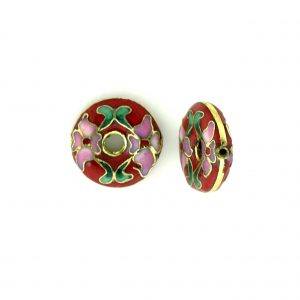 7116C - 16mm Flat Round Cloisonne Bead - Red