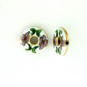 7116C - 16mm Flat Round Cloisonne Bead - White