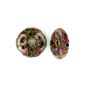 7216CW - 16mm Flat Round Cloisonne Bead - Brown