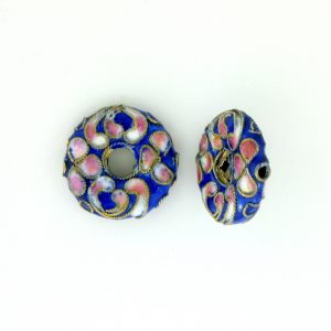 7216CW - 16mm Flat Round Cloisonne Bead - Blue