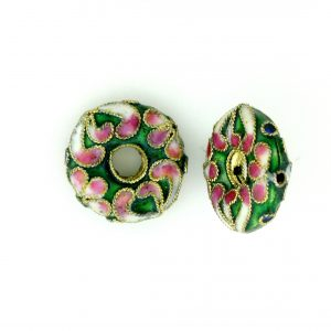 7216CW - 16mm Flat Round Cloisonne Bead - Green