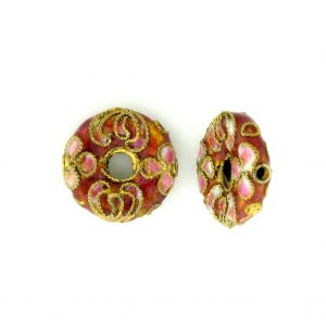 7216CW - 16mm Flat Round Cloisonne Bead - Pink
