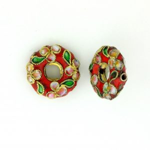 7216CW - 16mm Flat Round Cloisonne Bead - Red