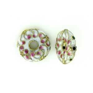 7216CW - 16mm Flat Round Cloisonne Bead - White