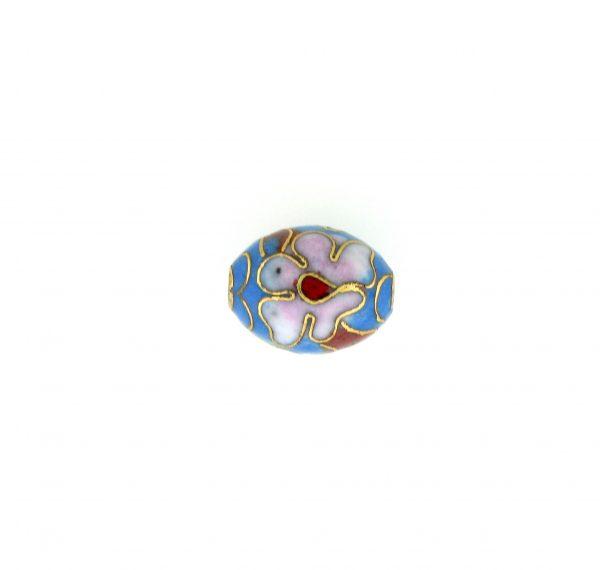 7310C - 7x9mm Oval Cloisonne Bead - Light Blue