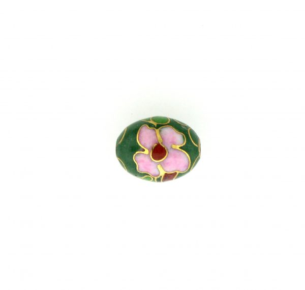 7310C - 7x9mm Oval Cloisonne Bead - Green