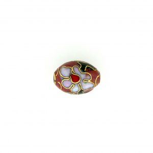 7311C - 11x9mm Oval Cloisonne Bead - Brown