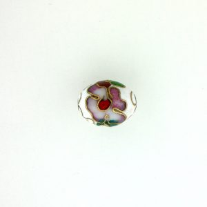 7311C - 11x9mm Oval Cloisonne Bead - White