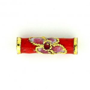 7701CW - 15x4.5mm Tube Cloisonne Bead - Red